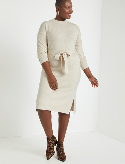 Tie-Waist Sweater Dress