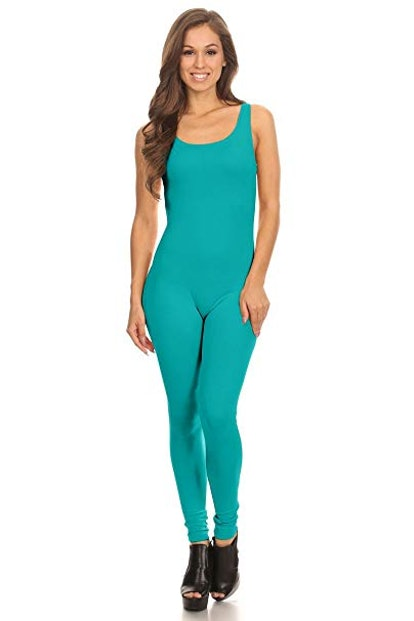 Stretch Cotton Bodysuit Women's Scoop Neck Sleeveless Unitard
