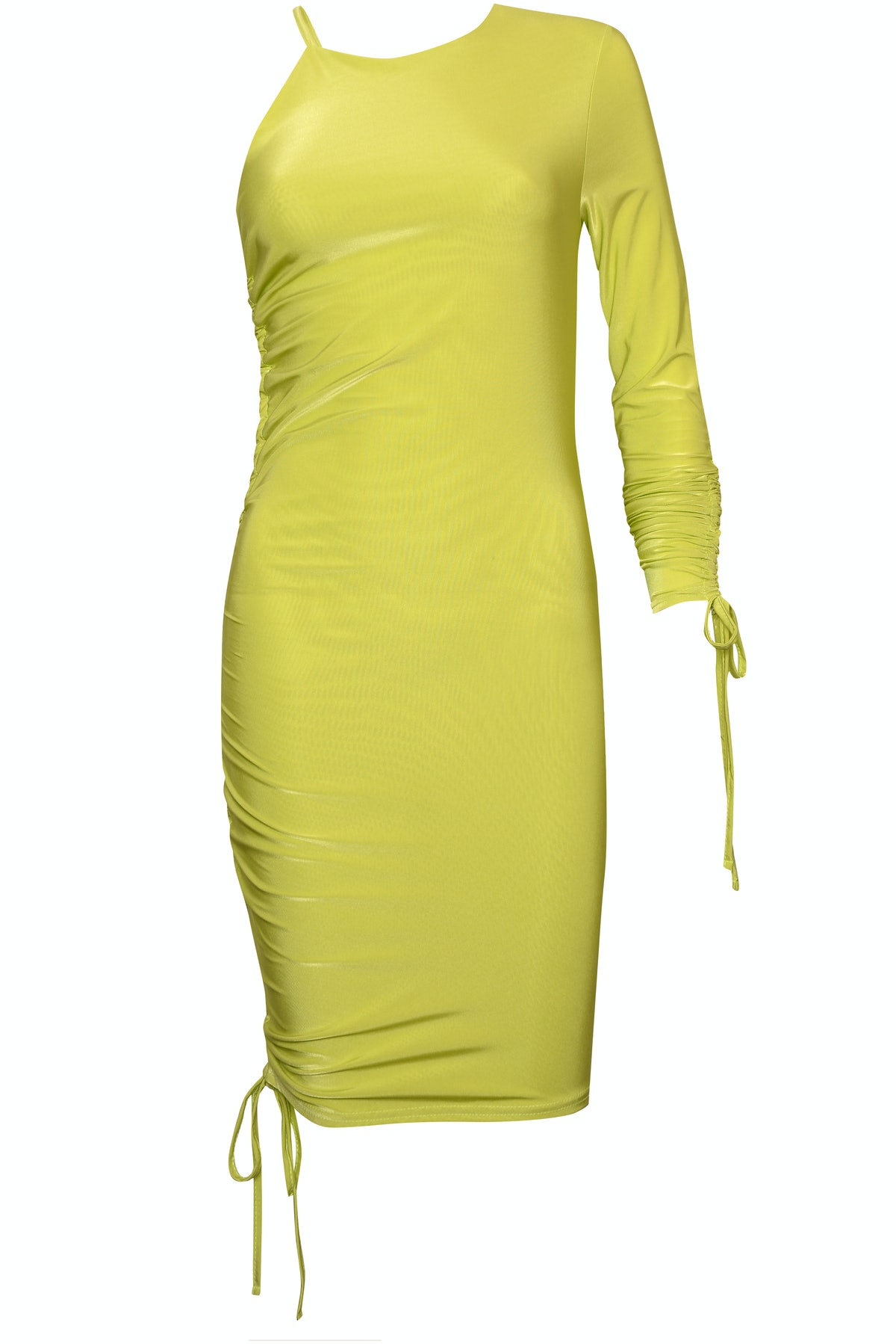 Neon Ruched One Sleeve Dress