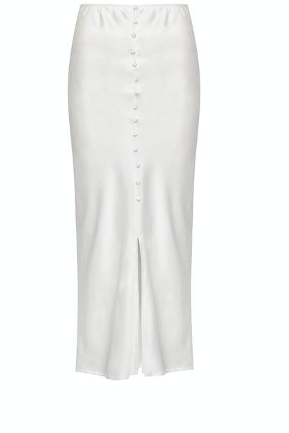 White Satin Button-Down Skirt