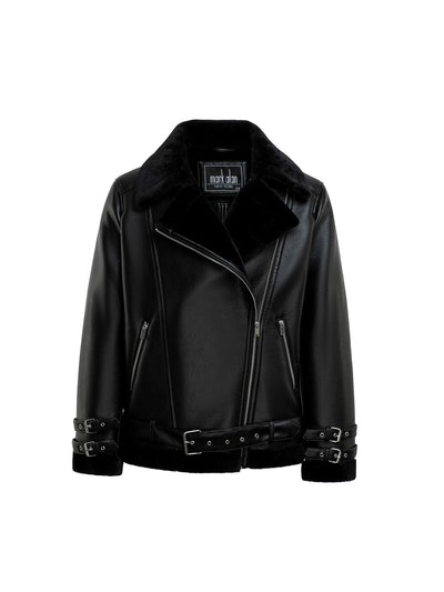 Mark Alan New York Women's Plus Leather Faux Fur Collar Jacket