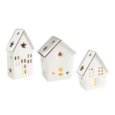 White Village House Tealight Candle Holder