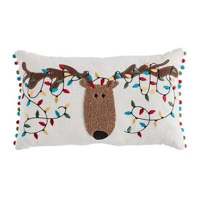 Musical Christmas Lights Reindeer Lumbar Pillow