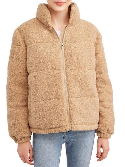 Pink Platinum Juniors' Teddy Puffer Jacket