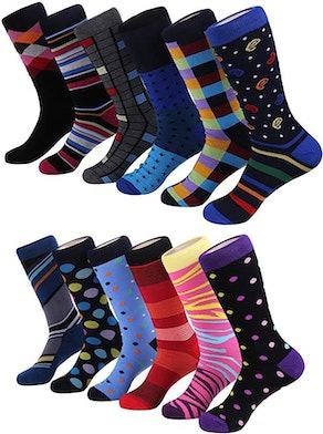 Marino Colorful Funky Dress Socks For Men (12-Pack)