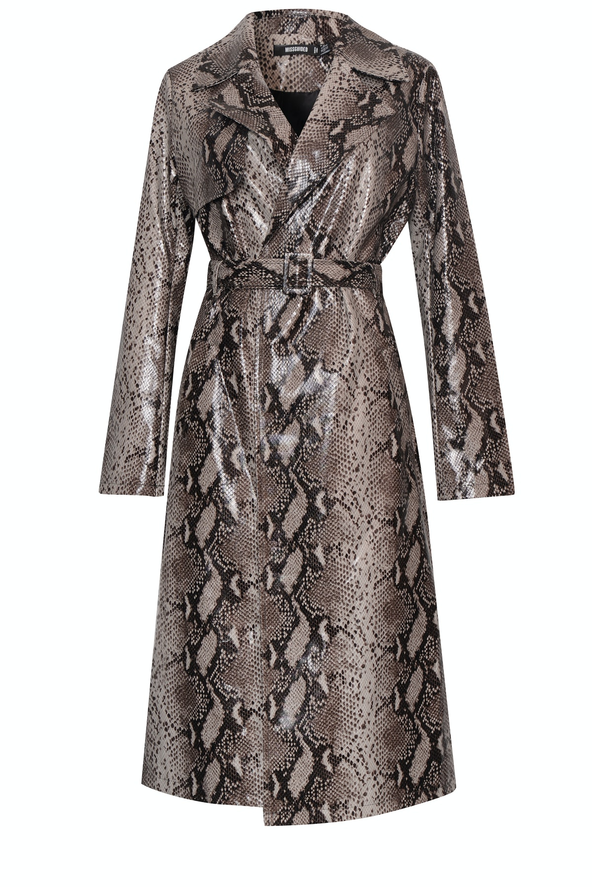 Sofia x Missguided Snake Print Trench Coat