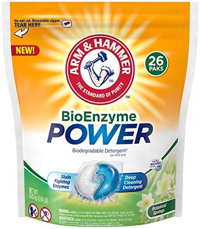 Arm & Hammer BioEnzyme Power Laundry Detergent Packs, 26 Count (26 Loads)