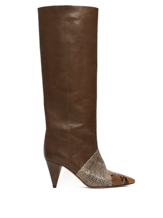 Laomi Snake-Effect Leather Knee Boots