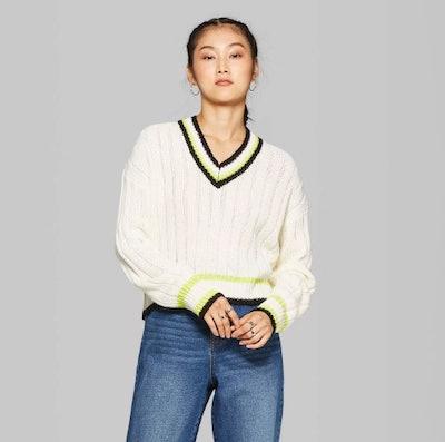 Wild Fable Women's Long Sleeve V-Neck Cropped Varsity Sweater