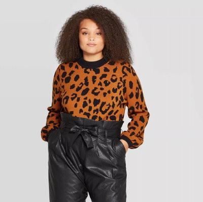 Who What Wear Leopard Print Long Sleeve Crewneck Pullover Sweater
