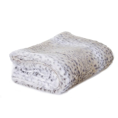 Silver Orchid Chaplin Snow Leopard Faux Fur Throw Blanket