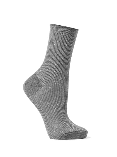 Ribbed Metallic Wool-Blend Socks