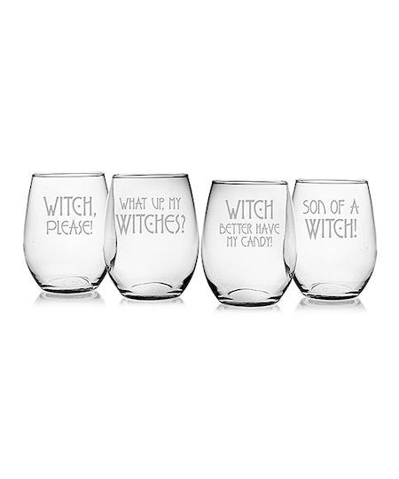 Glass 'Witch' Stemless Wine Glass Set