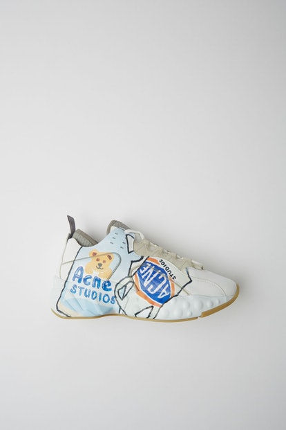 Ceramic-Print Lace-Up Sneakers White/White