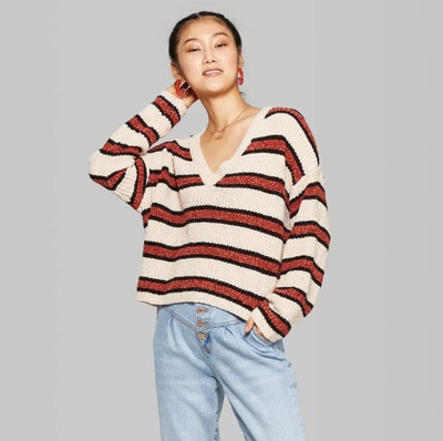 Wild Fable Women's Striped Long Sleeve V-Neck Sweater