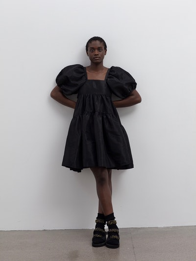 Ami Black Faille Dress