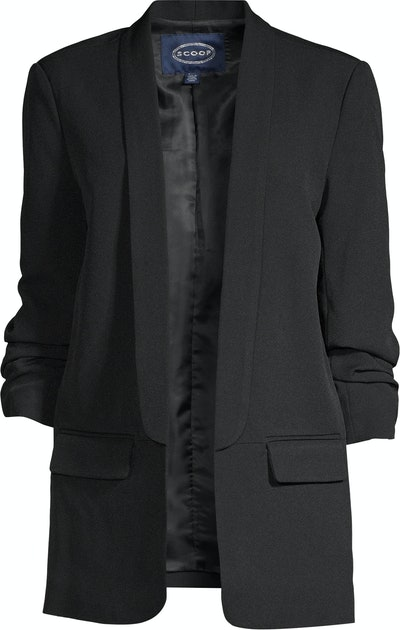 Scrunch-Sleeve Shawl Collar Boyfriend Blazer