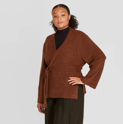 Prologue Long Sleeve Open-Front Belted Ribbed Cardigan