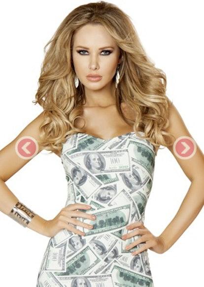 Money Print Sexy Mini Tube Dress