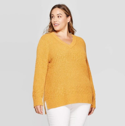 Universal Thread Long Sleeve V-Neck Textured Pullover Sweater