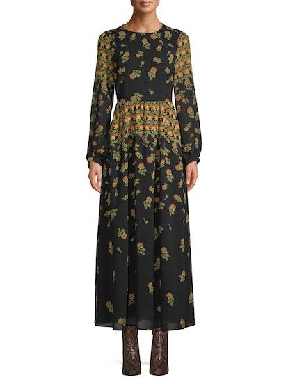 Scoop Blouson Sleeve Maxi Dress Floral Print