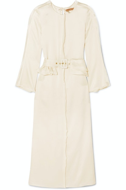 Looks Like We Made It Belted Satin Maxi Dress
