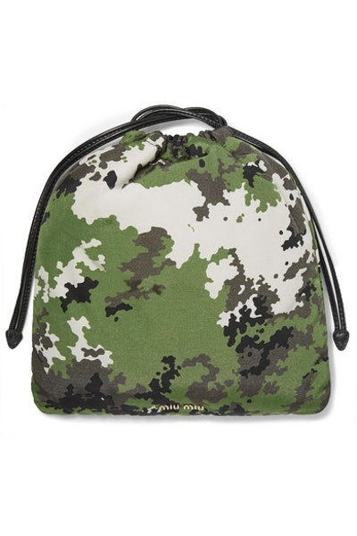 Leather-trimmed camouflage-print shell pouch