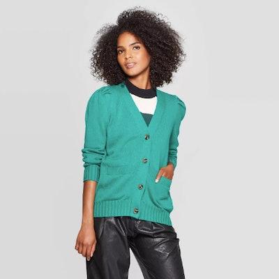 Who What Wear Women's Puff Shoulder Long Sleeve Cardigan