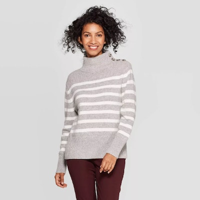A New Day Striped Mock Turtleneck Button Detail Sweater
