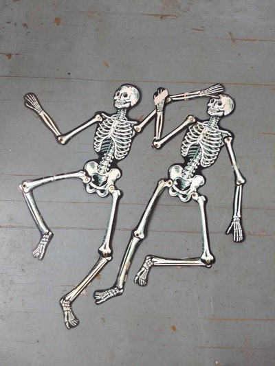 Vintage Halloween Paper Skeleton Decorations