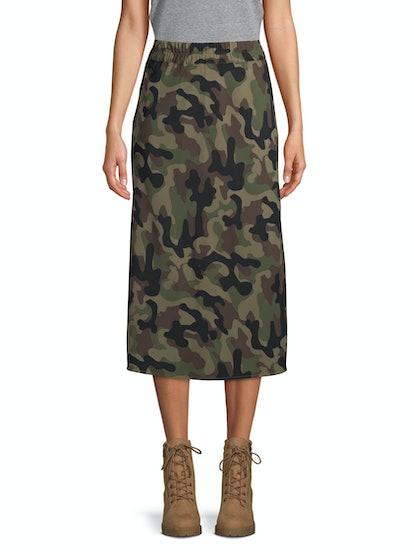 Scoop Midi Slip Skirt Camo Print