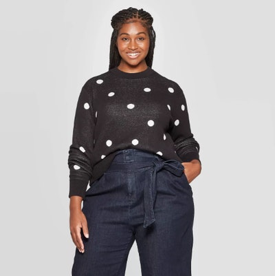Ava & Viv Dots Long Sleeve Crewneck Pullover Sweater
