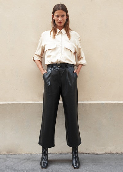 Black Faux Leather Cropped Pants