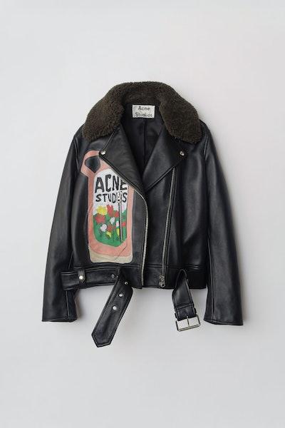 Ceramic-Print Leather Jacket Black