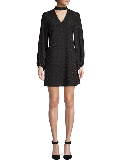 Scoop Blouson Sleeve Keyhole Mini Dress Dot Print Women's