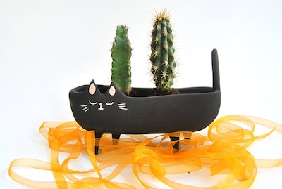 Halloween Special Ceramic Black Cat Planter