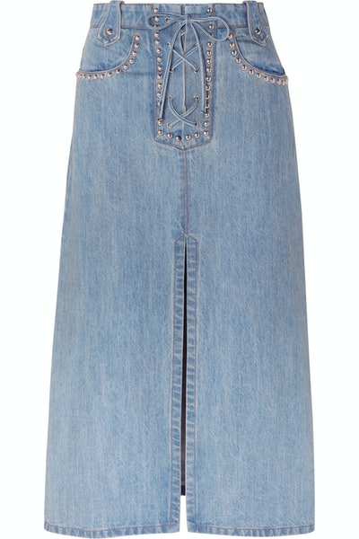 Lace-up studded denim midi skirt