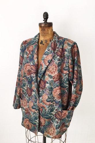 Vintage Floral Tapestry Blazer