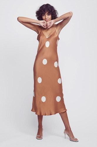 Big Polka-Dot Cinnamon Silk Slip Dress