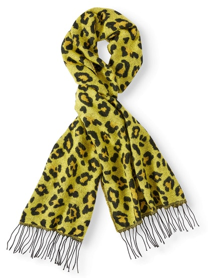 Scoop Fuzzy Wide Animal Print Fringe Scarf in Yellow Leopard