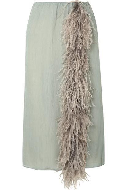 Feather-Trimmed Silk Skirt