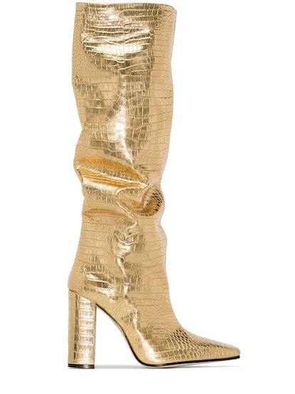 Croc-Effect Metallic 100mm Boots