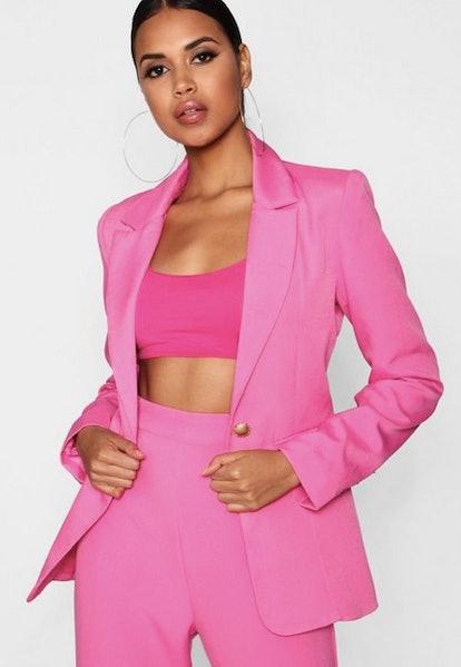 Pink Plunge One Button Blazer