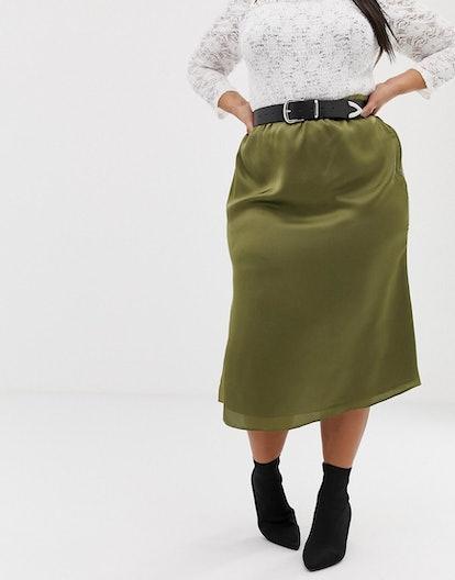Glamorous Curve Bias-Cut Satin Midi Skirt