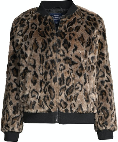 Faux Fur Leopard Knit Panel Zip-Up Bomber Jacket