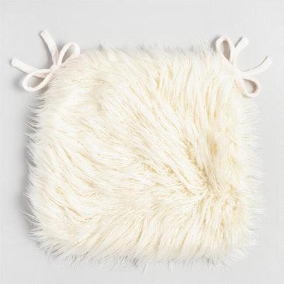Ivory Mongolian Faux Fur Chair Cushion