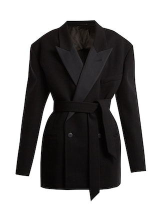 Exaggerated Shoulder Wool Twill Jacket