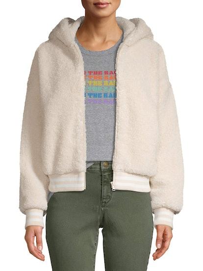 Scoop Faux Teddy Fur Zip Up Hooded Jacket