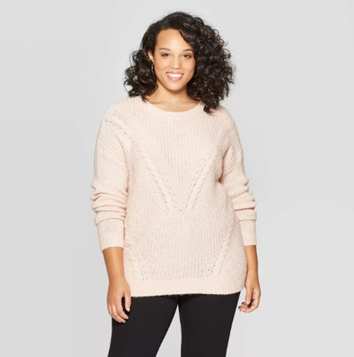 Ava & Viv Long Sleeve Crewneck Cable Pullover Sweater