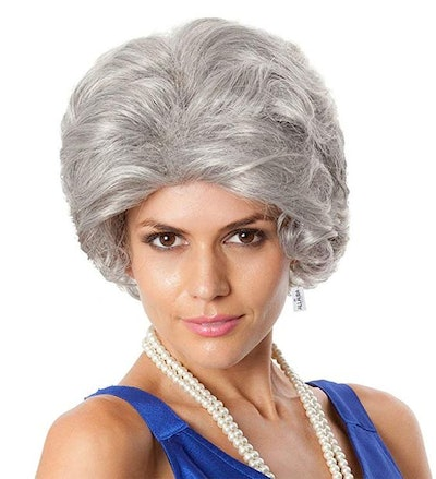 Old Lady Grandma Wig + Wig Cap. Granny Costume Gray Wigs Queen Elizabeth Fits Kids Adults Women Girls Wigs